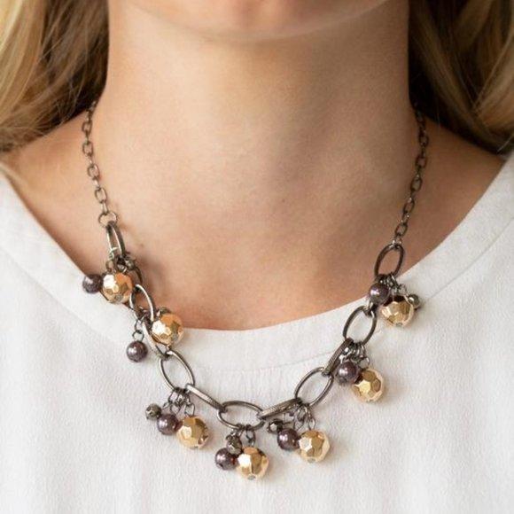 3/$20 Paparazzi Malibu Movement Gunmetal Bead Necklace and Earring Set